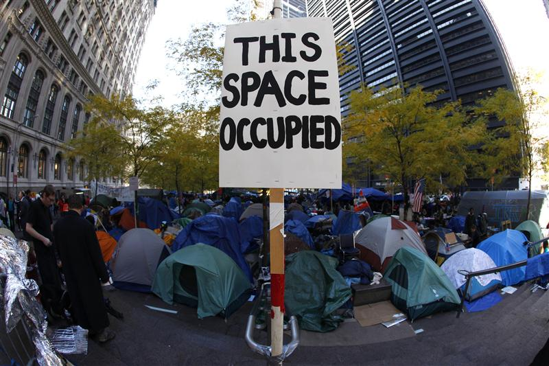The Occupy Wall Street encampment at Zuccotti Park in lower Manhattan covered with tents